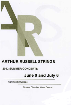 Arthur Russell Strings 2013 Summer Concerts